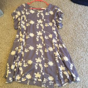 Purple and cream embroidered cap sleeve dress